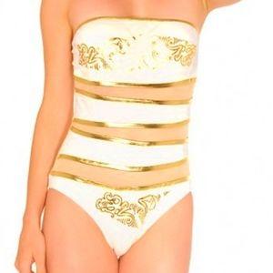 NEW Ed Hardy Bandeau One Piece Swimsuit